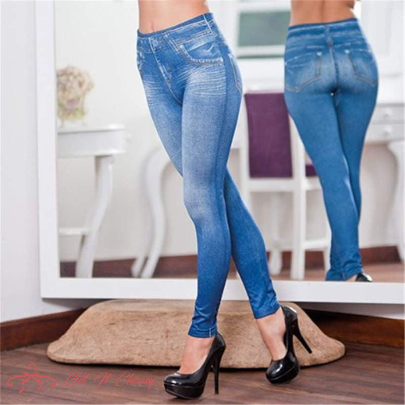 Perfect Fit Jeans Leggings Explosion models imitation denim women's leggings 9 points pants pull hair print imitation denim by Getitchoosy