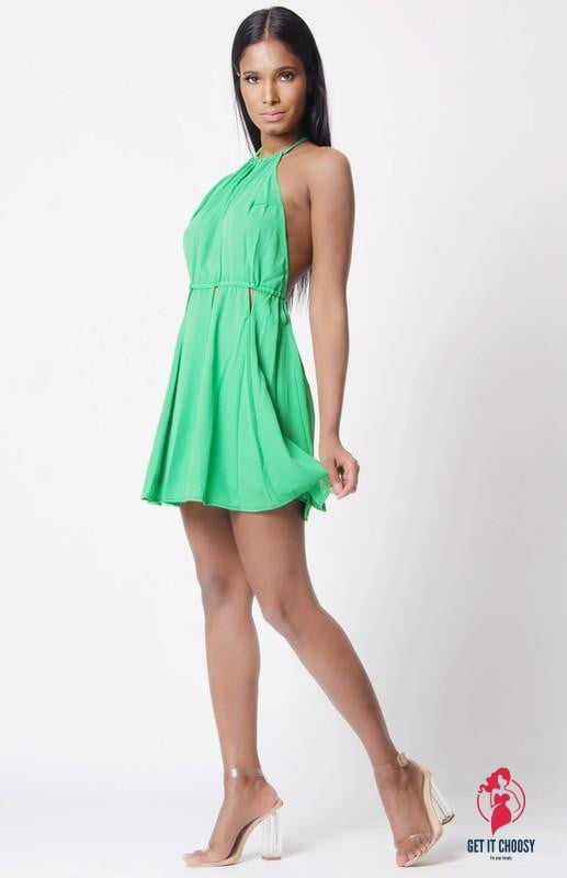 HALTER NECK SOLID DRESS by Getitchoosy