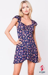 FLORAL PRINT FIT AND FLARED DRESS by Getitchoosy