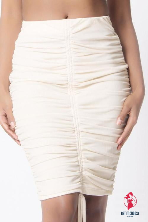 RUCHED MESH MINI SKIRT by Getitchoosy