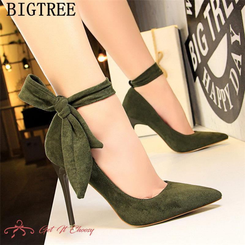 dress shoes women stiletto moccasin bigtree shoes Butterfly knot new green shoes for women luxury high heels buty by Getitchoosy