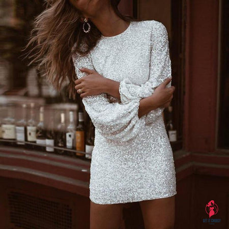 Women Sequin Sexy Club Dress Silver Shining by Getitchoosy