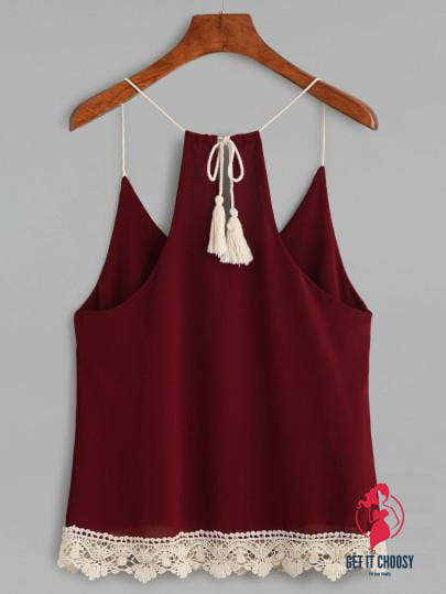 Burgundy Lace Up Fringe Crochet Trim Cami Top by Getitchoosy