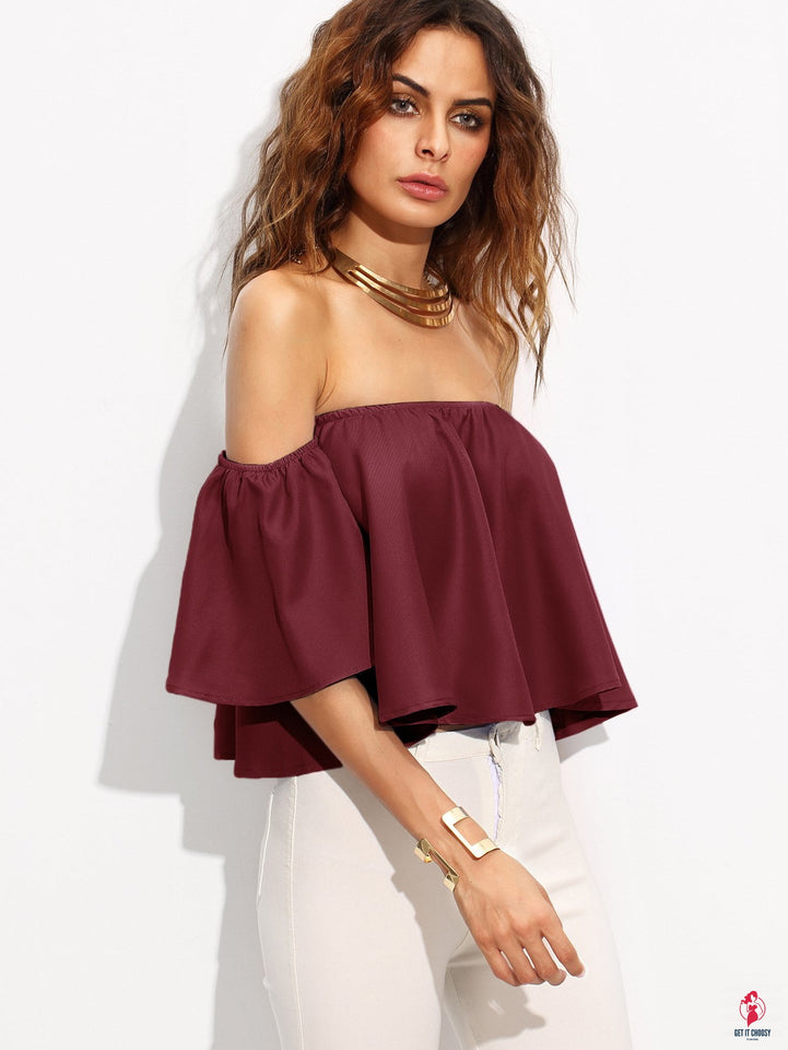 Burgundy Shirred Off The Shoulder Top by Getitchoosy