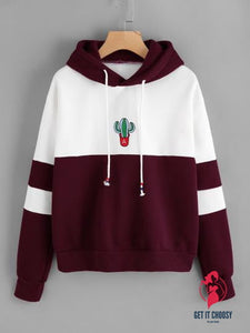 Color Block Cactus Embroidered Hoodie by Getitchoosy