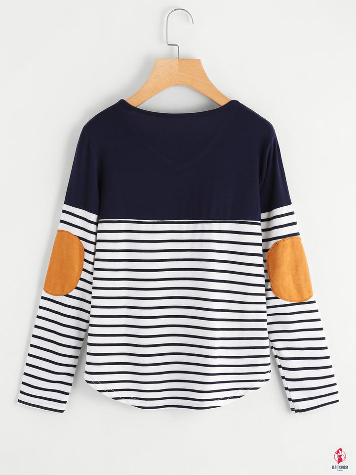 Striped Elbow Patch Curved Hem T-shirt by Getitchoosy