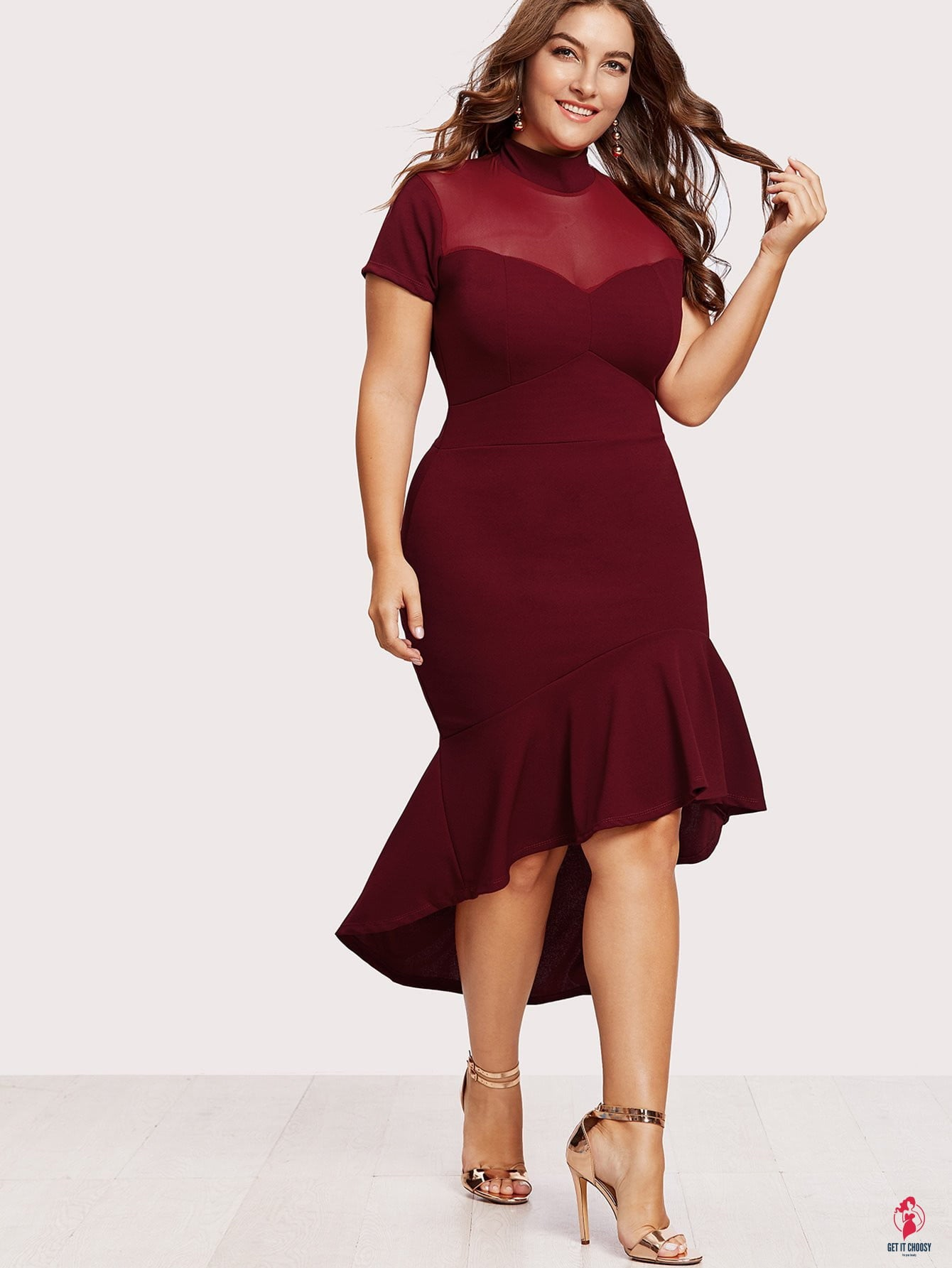 Plus Mesh Insert Frill Dip Hem Dress by Getitchoosy