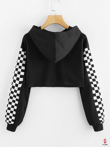 Contrast Checked Sleeve Crop Hoodie by Getitchoosy