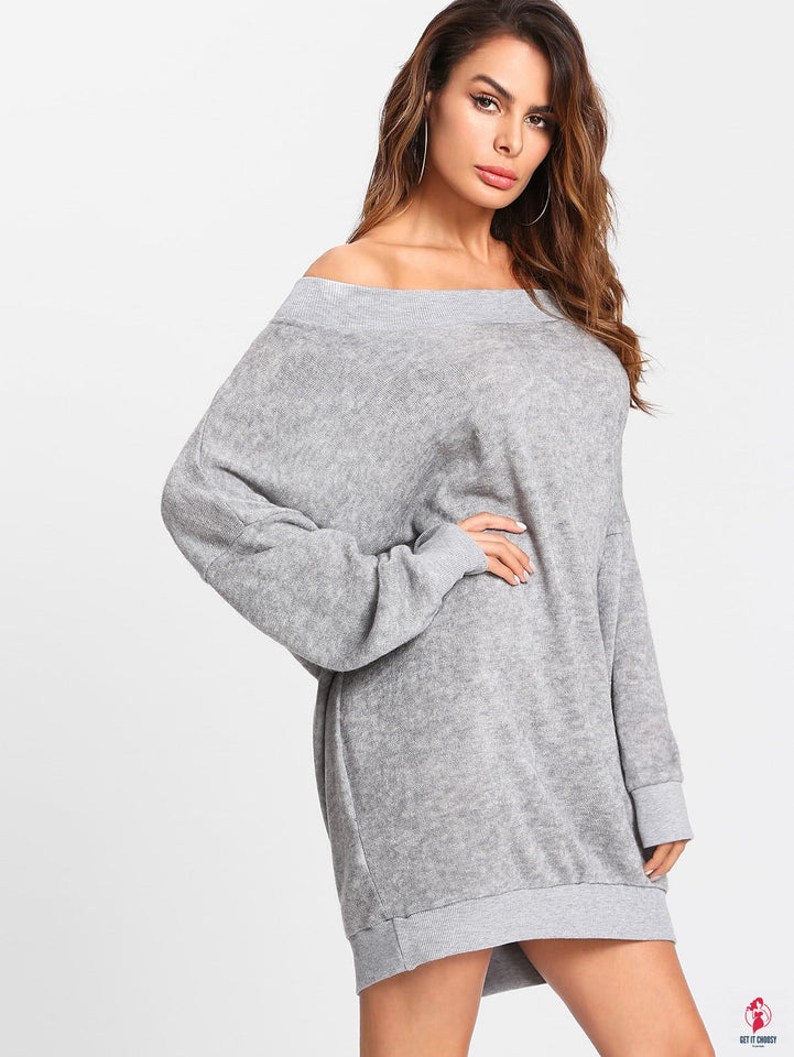 Off Shoulder Marled Knit Sweater Dress by Getitchoosy