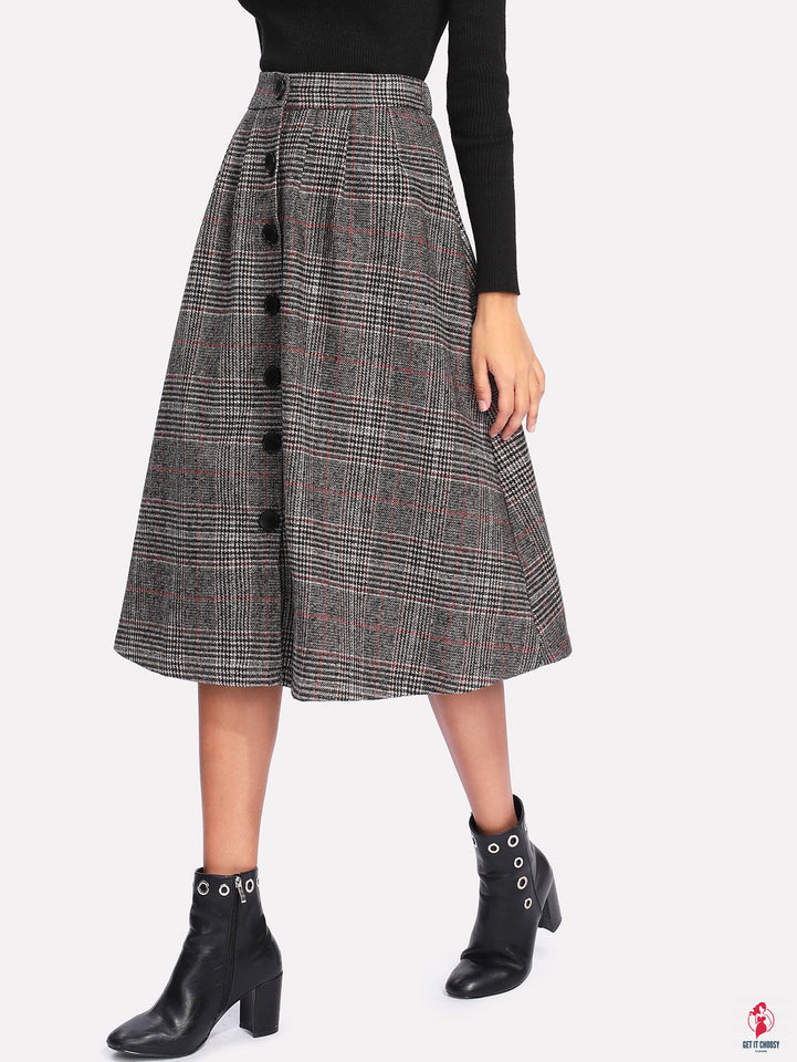 Wales Check Single Breasted Skirt by Getitchoosy