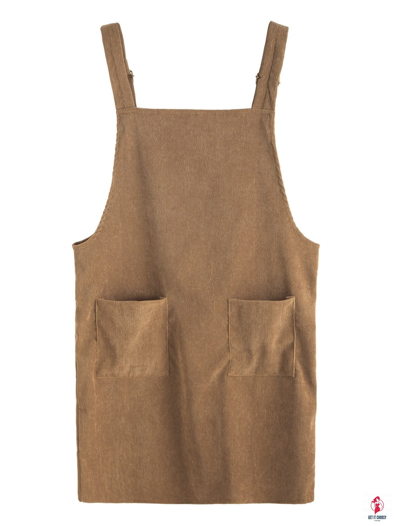 Khaki Corduroy Pinafore Dress With Pocket by Getitchoosy