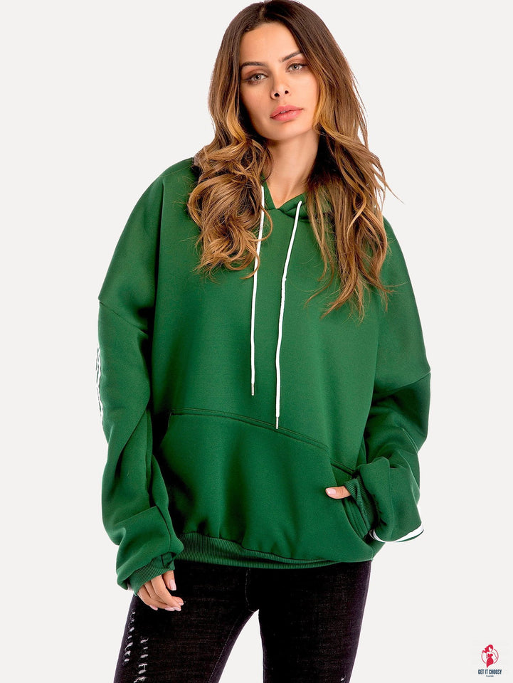Drop Shoulder Hooded Sweatshirt by Getitchoosy