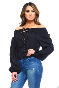Women's Lace-Up Off Shoulder Elastic Blouse by Getitchoosy