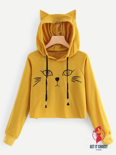Cat Print Hooded Sweatshirt by Getitchoosy