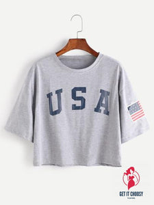 American Flag Letter Print Drop Shoulder Tee by Getitchoosy