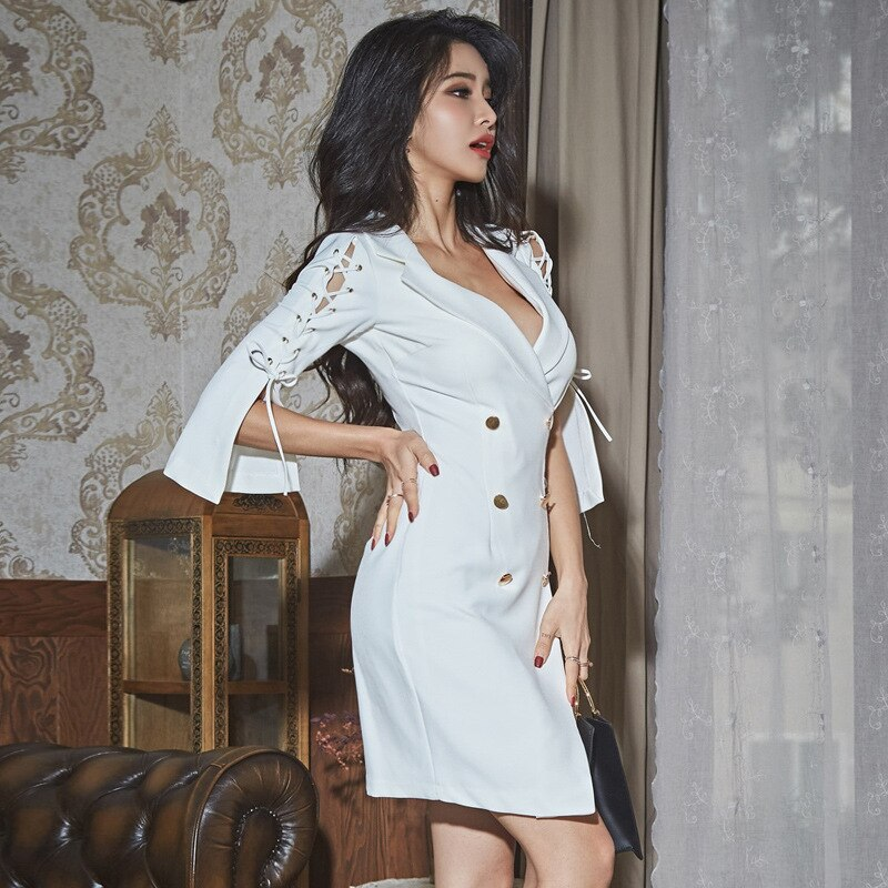 Modis Streetwear Runway White Dress Women Three Quarter Double Button Bandage Mini Dress Women with Bow Solid Fall Blazer Dress