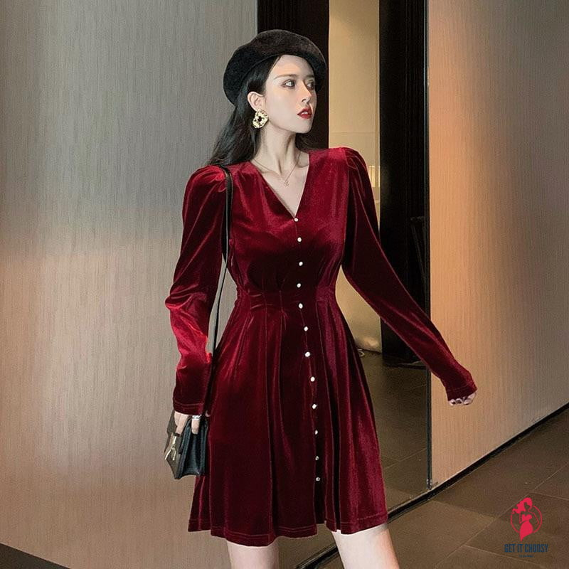 New Year Red All-Match Long-Sleeved Dress Women - Get It Choosy