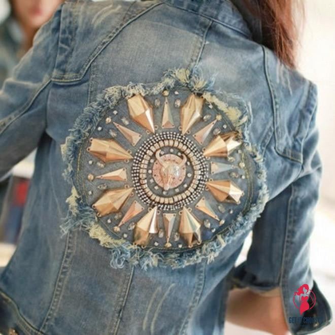 Cowboy Coats Leisure Outwear Slim Diamonds Half sleeve Women's Denim Blue Jacket Coat by Getitchoosy