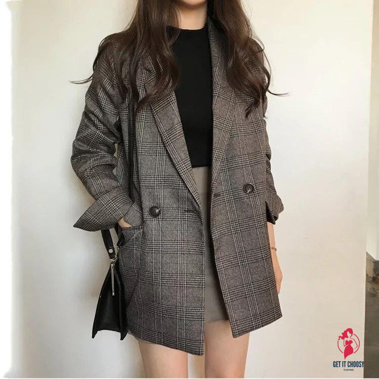 Women's Check Long Sleeve Cotton Jacket Causual Vintage Coat Plaid Blazer by Getitchoosy