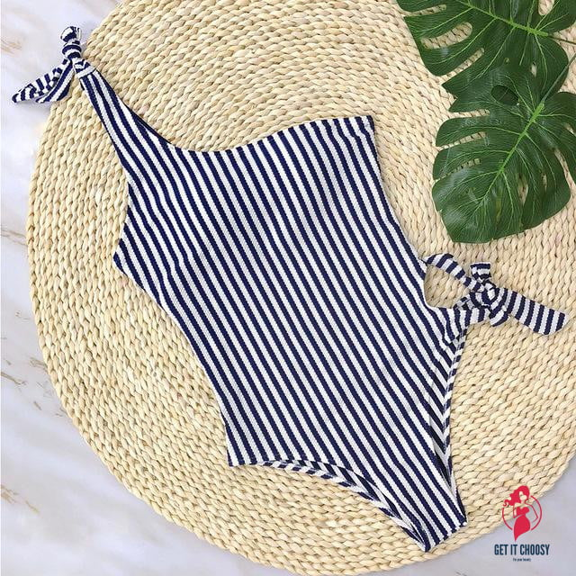 Sexy White Blue Striped One Piece Swimsuit by Getitchoosy
