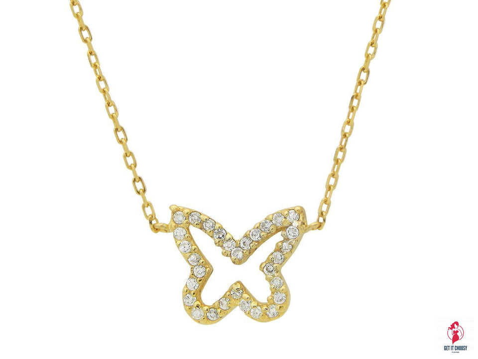 Golden Sparkling Open Butterfly Necklace by Getitchoosy