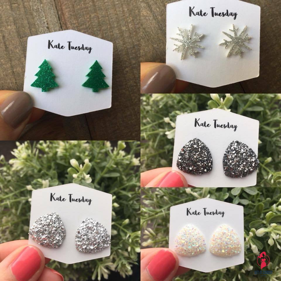 Holiday Sparkly Earring Box by Getitchoosy