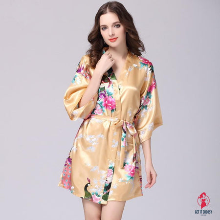 Women Faux Silk Robe Satin Wedding Bride Robe Large Size Sexy Floral Bathrobe Short Nightwear Women Pajamas Kimono