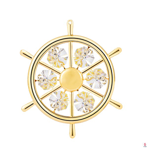 24K gold plated captain's wheel with Swarovski by Getitchoosy