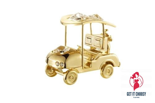 24K gold plated golf cart with Swarovski crystal by Getitchoosy