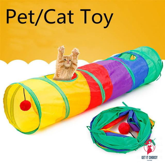 Large Pet Cat Toy Tunnel Colorful Crinkly by Getitchoosy