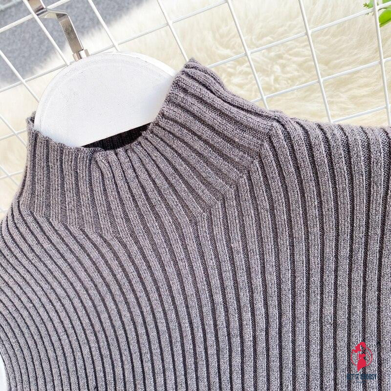 Women's Knit Patchwork Fake Two-Piece Tops Slim Fit Lantern Sleeved Shirt Tide Turtleneck Pullovers Sweater Tops - Get It Choosy