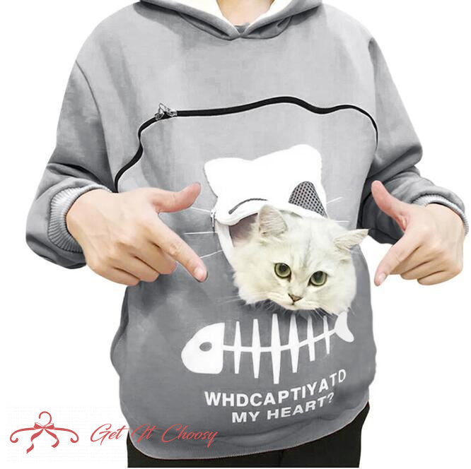 Pet Carrier Thicken Hoodies Kitten Puppy Holder Animal Pouch Hoodie Breathable Hooded Sweatshirt Teen Girls Women Pullovers Tops by Getitchoosy