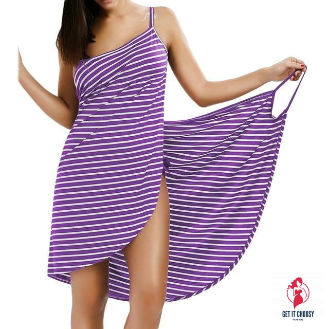 Sexy Backless Women Summer Striped Dress V-neck Spaghetti Strap Women Knee-length Cover ups Beach Dresses by Getitchoosy