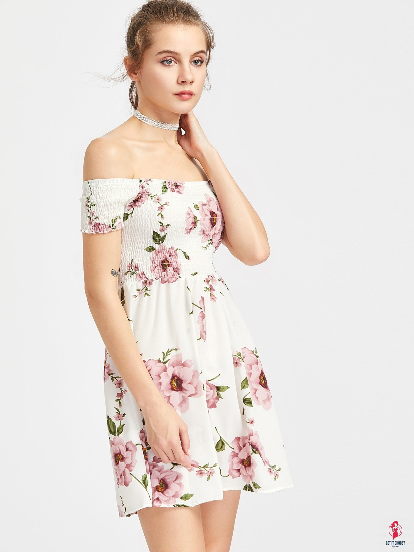 Bardot Ditsy Floral Print Off Shoulder Smock Dress - Get It Choosy