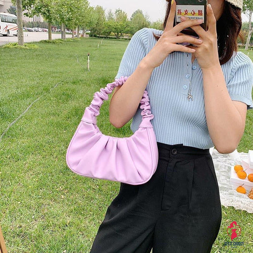Women Hobo Pleated Tote Bag Candy Color Underarm Bag Small Handbag And Purses Shoulder Bag