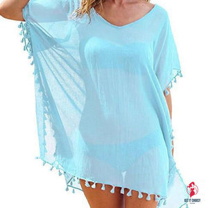 Chiffon Tassels Beach Wear Women Swimsuit Cover Up Swimwear Bathing Suits Summer Mini Dress