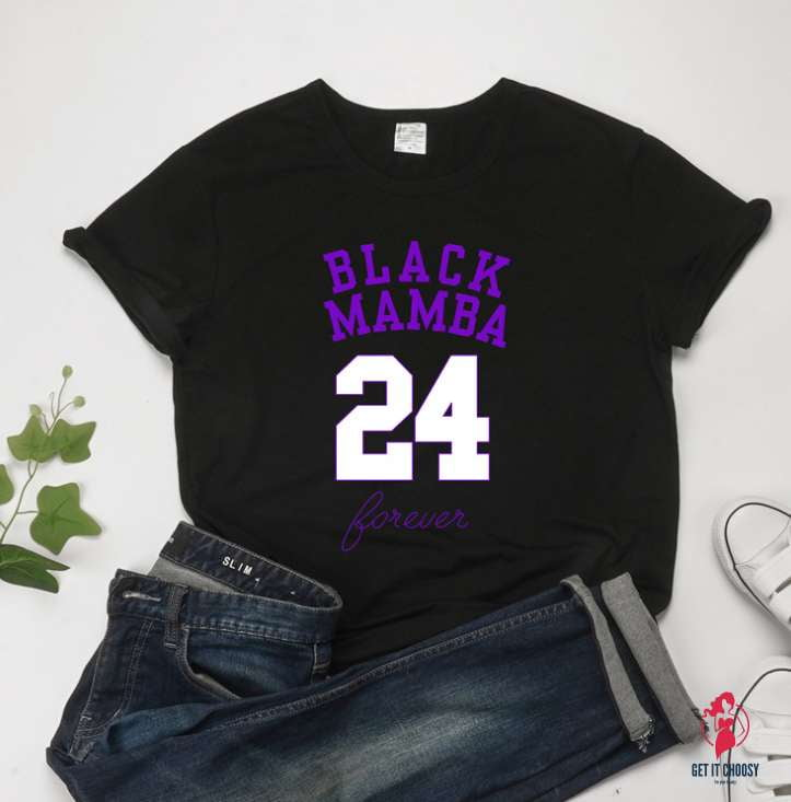 Kobe Memorial BLACK MAMBA 24 Short Sleeve Women's Casual T-Shirts by Getitchoosy