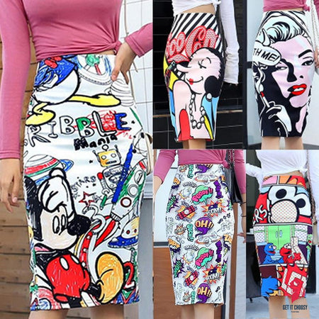 Women's Pencil Skirt Mickey New Cartoon Mouse Print High Waist Slim Skirts Women Young Girl Summer Female Falda by Getitchoosy