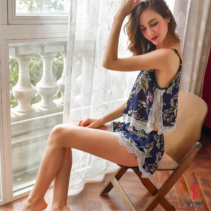 Women's Pajamas Set Silk Printing Sexy Lace Top And Shorts V-Neck Strap Sleeveless Pajamas Sling Summer SleepWear - Get It Choosy