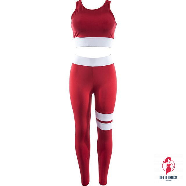Women Tracksuit Solid Yoga Set Patchwork Running Fitness Jogging T-shirt Leggings Sports Suit Gym Sportswear Workout Clothes by Getitchoosy