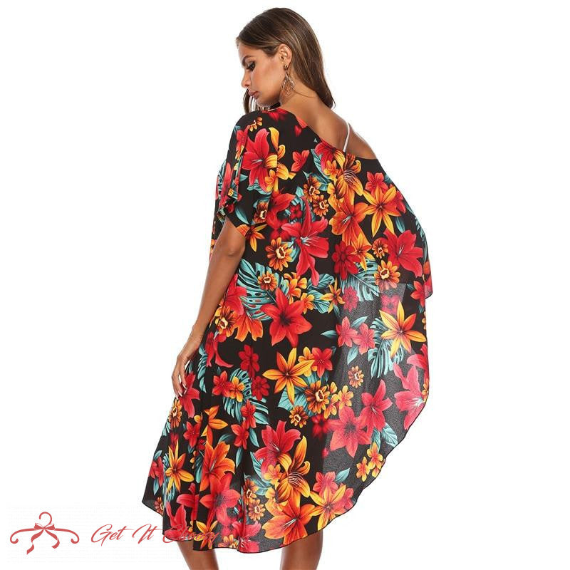 Asymmetry Floral Print Tunic Beach Dress Red Flower Beachwear Swimsuit Swim Dresses Womens Bathing Suit Cover Ups by Getitchoosy