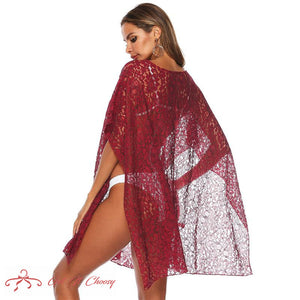 Summer Beach Dress Bikini Cover Up Tunic Women Red Chiffon Bathing Suit Sexy See Through Swimsuit Dresses Mesh Beachwear by Getitchoosy