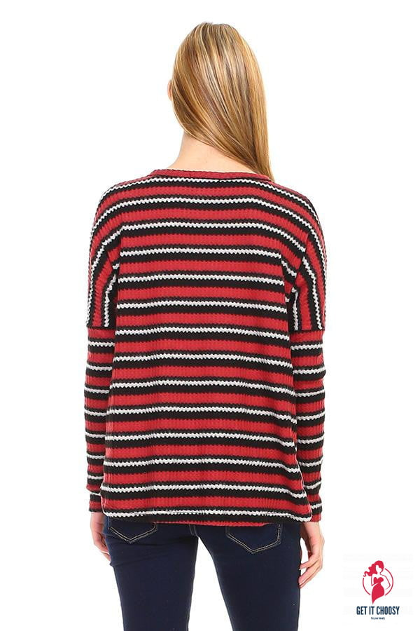 Stripe Button Down Dolman Sleeve Cardigan - Get It Choosy