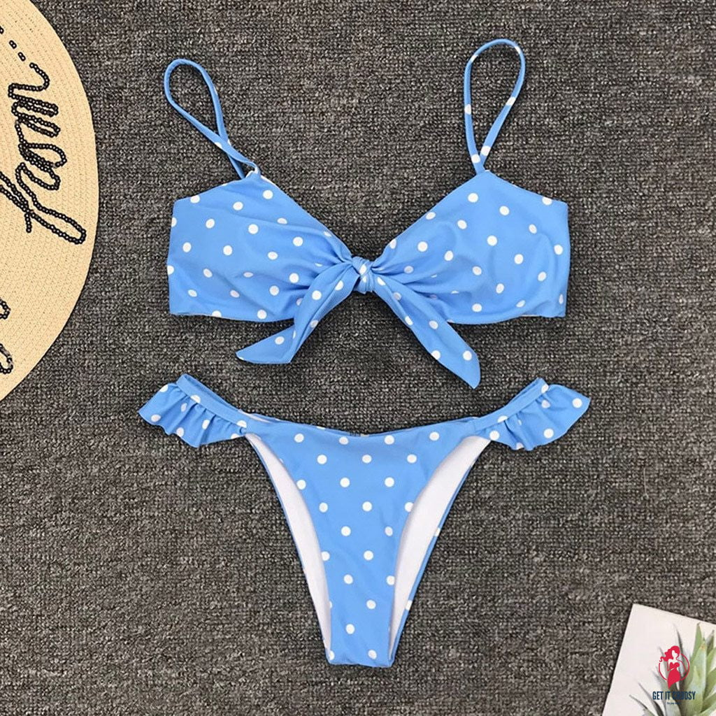 Womens Dot Print Bikini Push-up Bikinis by Getitchoosy