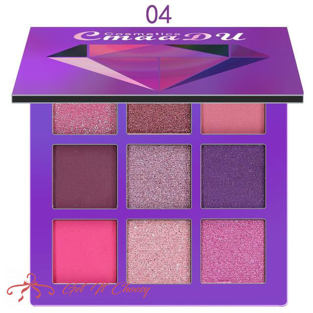 9color Diamond Bright Eye Shadow Palette Matte Shimmer Glitter Eye Shadow Powder Cosmetic Party Makeup Kit by Getitchoosy