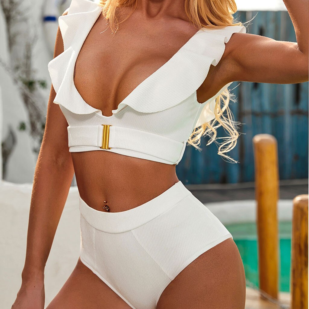 top bikinis mujer White Strap Tankini Bodysuit Bikini Swimwear High Waist Bathing Lady Swimming Suit high waist bikini