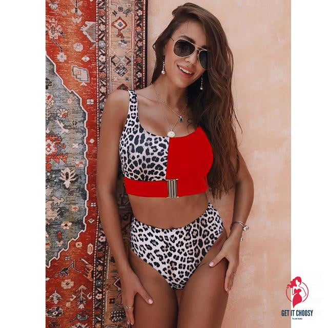 2020 New Sexy High Waist Bikini Swimsuit Women Swimwear Bandeau Push Up Bikini Set Buckle Bathing Suit Beach Wear Swimming Suit by Getitchoosy