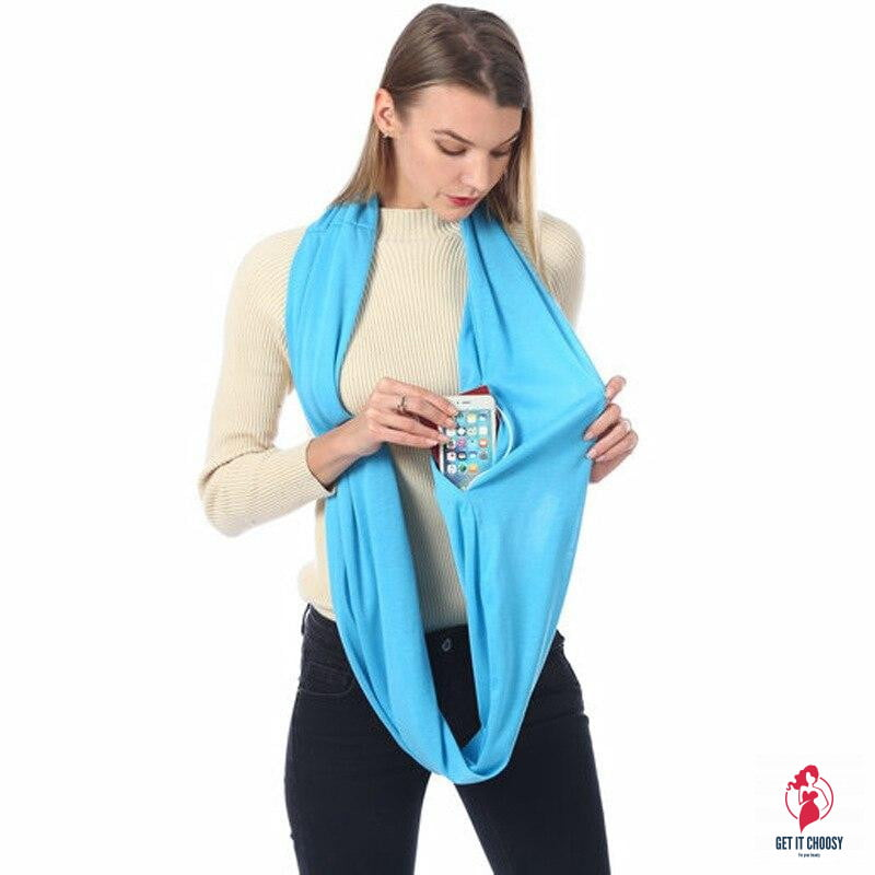 Unisex Loop Scarves for Women Girls Lightweight Convertible Infinity Scarf Wrap with Hidden Zipper Pocket Stretchy Travel Scarf - Get It Choosy