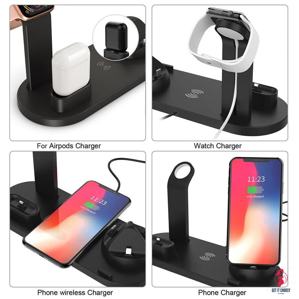 4 in 1 Wireless Charging Dock Station 10W Qi Fast Charger Stand Holder by Getitchoosy