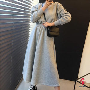 Women Dresses Thicken High Elastic Waist Casual Long Minimalist Pockets Wild Warm Dress